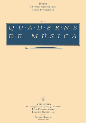 """Quaderns de Música 5. """"La primavera"""" F. Pedrell i F. Matheu"""