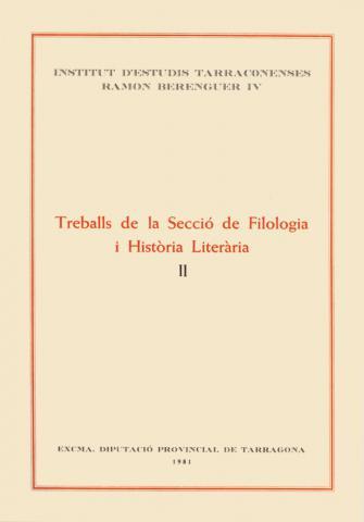 Treballs de la Secció de Filologia i Història Literària II