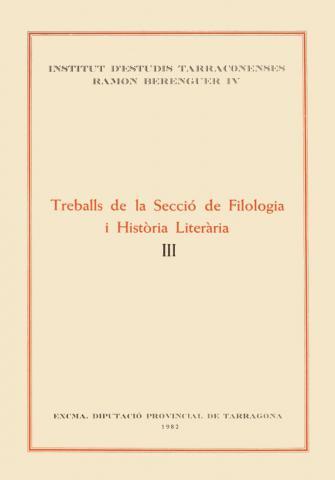 Treballs de la Secció de Filologia i Història Literària III