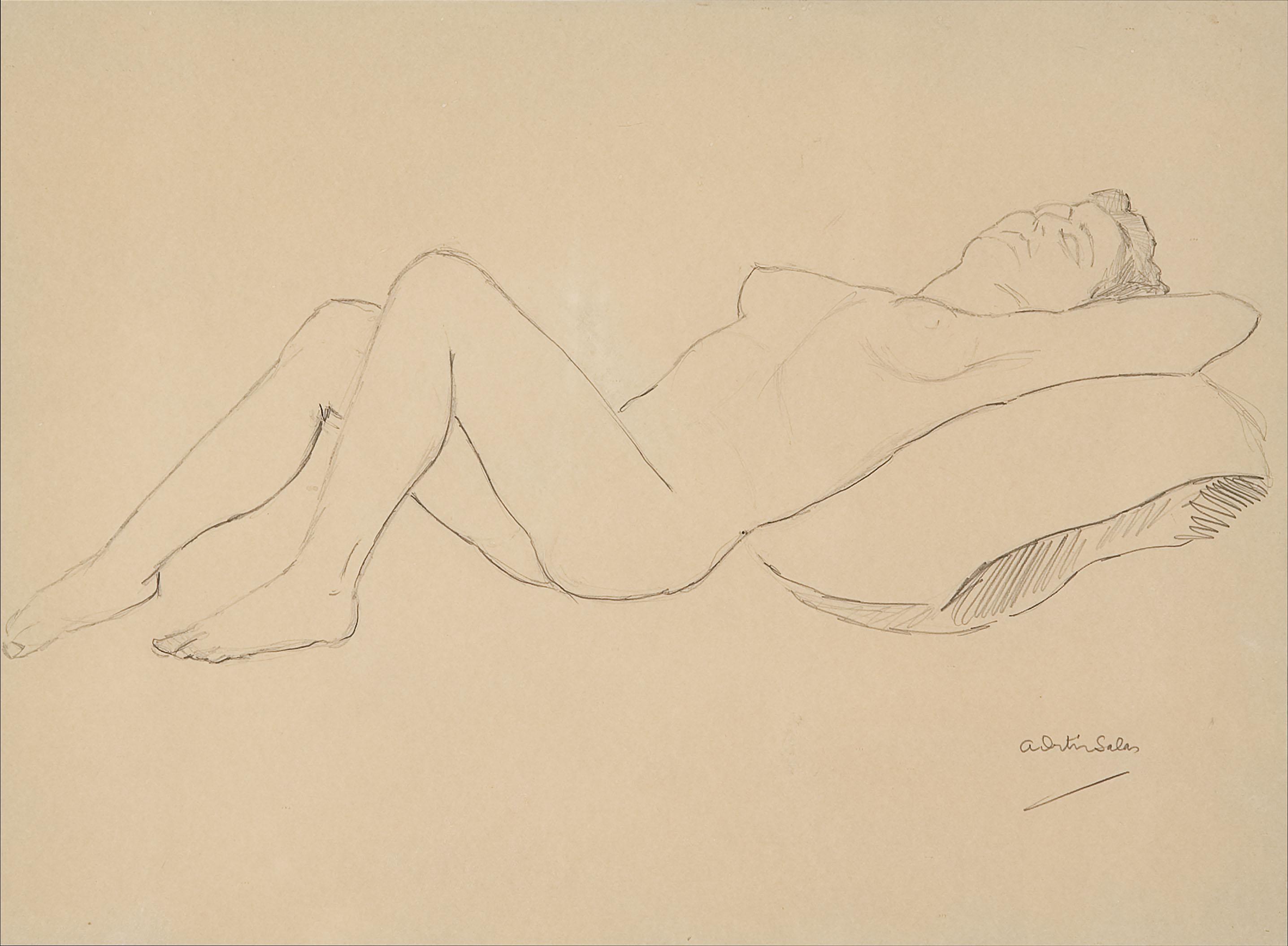 Nu femení, el cos ajagut sobre un coixí | Ortiz Salas, Antonio