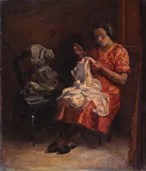Dona cosint | Sancho Piqué, Josep