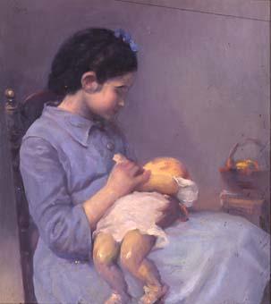 Nena jugant amb una nina | Sancho Piqué, Josep