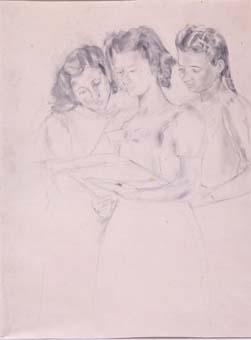 Tres noies llegint | Ripoll, M.Teresa i Sahagún