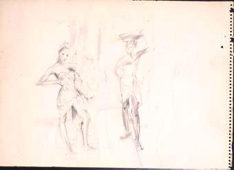 Dues noies amb cistella i ventall | Ripoll, M.Teresa i Sahagún