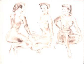 Tres apunts de la mateixa model | Ripoll, M.Teresa i Sahagún