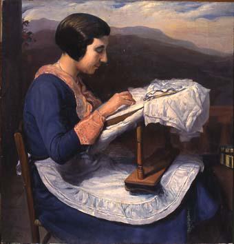 Noia brodant | Sancho Piqué, Josep