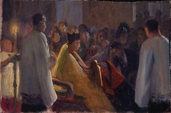 Boceto de adoración del Santo Rostro | Nogué Massó, José
