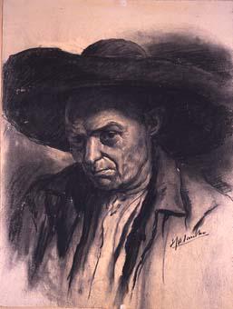Home amb barret ample | Sancho Piqué, Josep