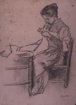 Dona cosint   Sancho Piqué, Josep