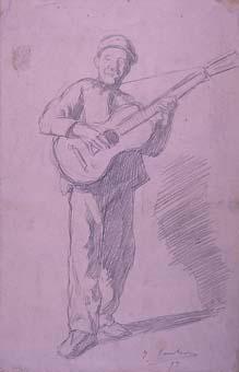 Home tocant la guitarra   Sancho Piqué, Josep