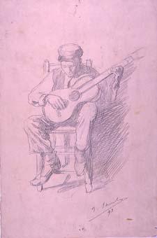 Noi tocant la guitarra   Sancho Piqué, Josep
