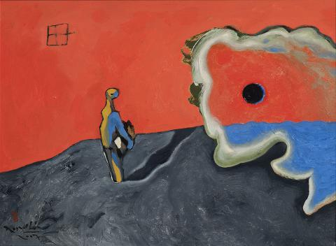 Personatge sobre el vermell i el blau | Rosselló ( Roselló Virgili, Josep M)