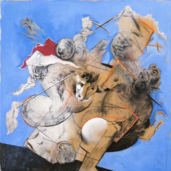 Recreació de la batalla d'Anghiari sobre fons blau | Rosselló ( Roselló Virgili, Josep M)