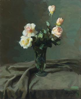 Cinc roses sobre fons verd | Folch Solé, Magda