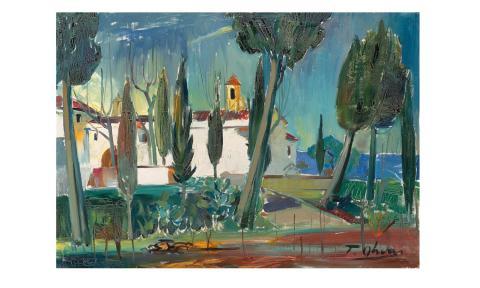 Paisatge amb església | Olivar Duro, Tomás
