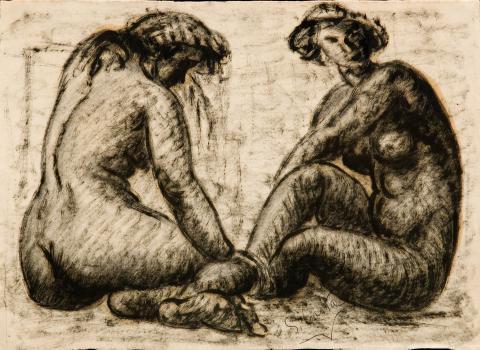 Dues noies assegudes   Costa Vaqué, Santiago