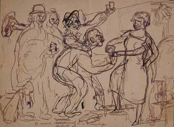 La mare servint el vi a la cuadriga | Sancho Piqué, Josep