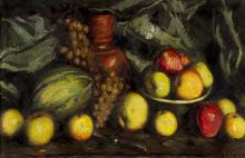 Natura morta, fruites i gerro vermell | Lahosa Valimaña, Joan