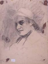 Joven con sombrero esboç | Sancho Piqué, Josep