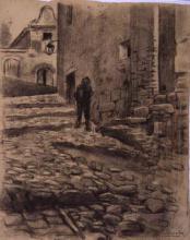 Calle de pueblo con figura | Sancho Piqué, Josep