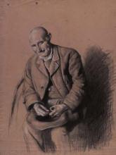 Vell amb barret sobre els genolls | Sancho Piqué, Josep