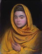 Dona amb mantell groc | Sancho Piqué, Josep