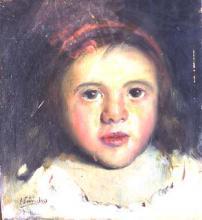Cap de nena amb cinta vermella | Sancho Piqué, Josep